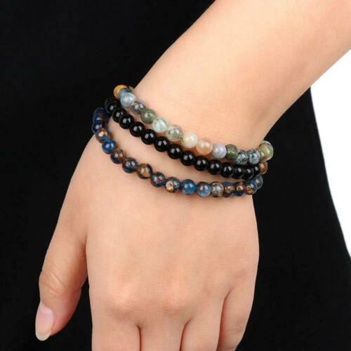 3pc Fashion Natural Agate Stone Bead Bracelet Beaded Bracelets Unisex Jewelry