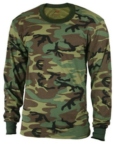 LS Kids Camo T-shirt Long Sleeve Woodland Camouflage Boys Shirt Rothco 6705