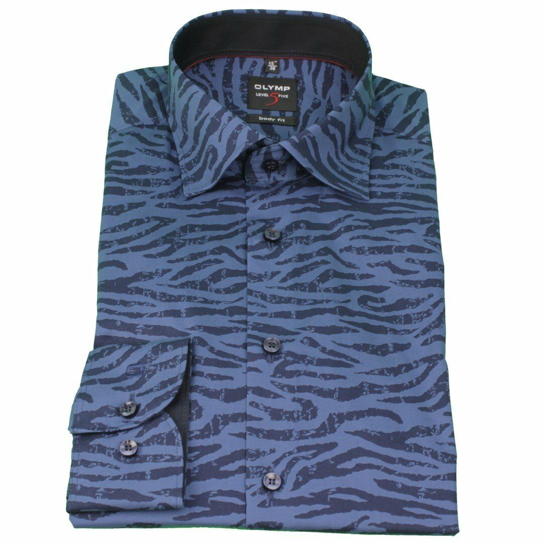 Olymp Uomo Body Fit Camicia Blu level 5 Blu Camicia Motivo Zebra 2045 84 18  d79abd 51ea989b2f2