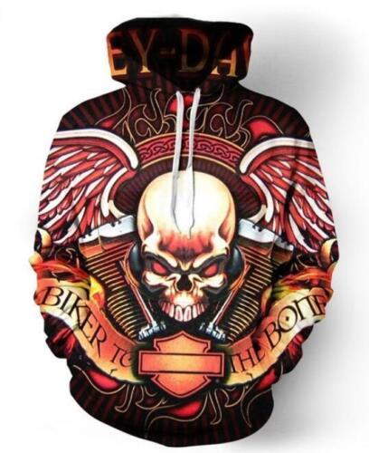 New Fashion Women//Men Motorcycle Skull 3D Print Jacket  Hoodie Sweatshirt 337