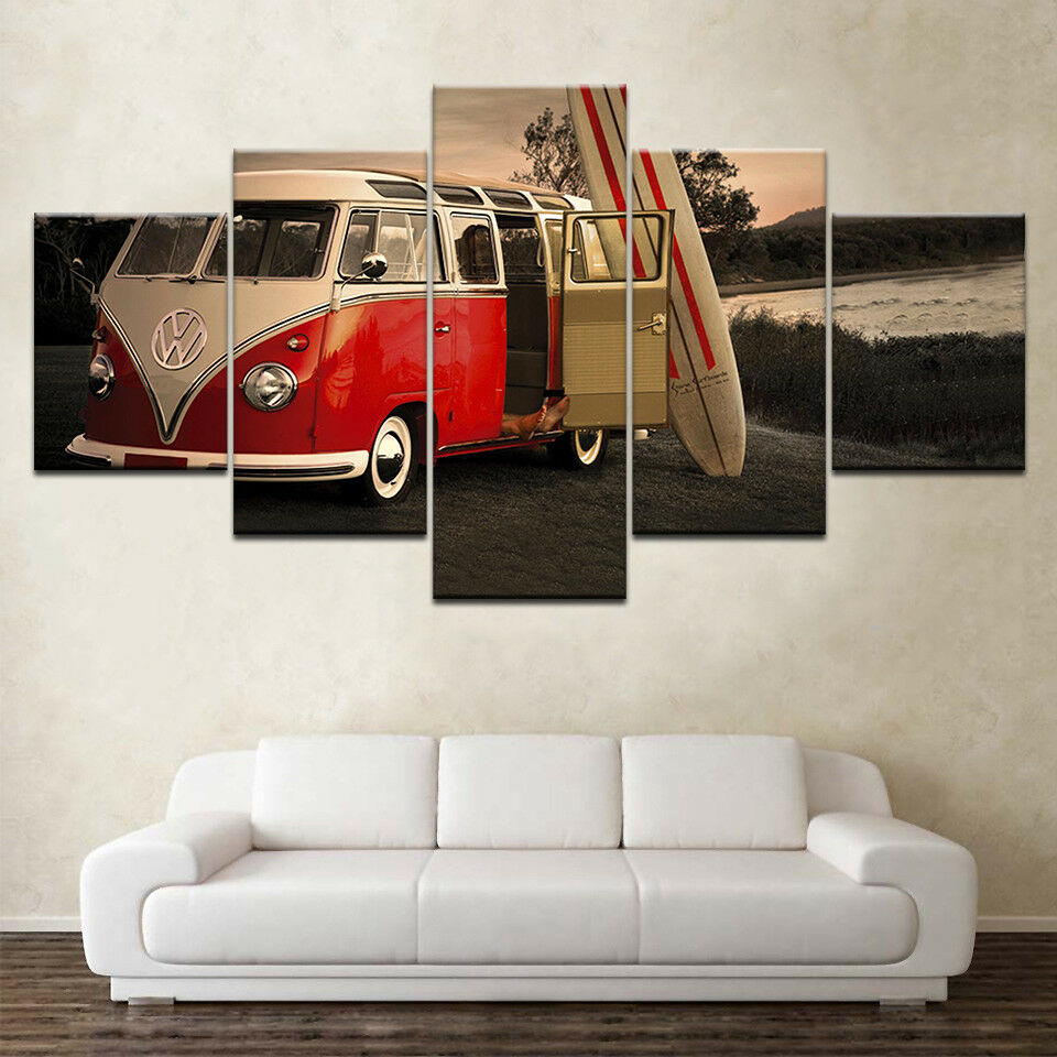 Volkswagen Bus Cars Surf Board 5 Panel Canvas Print Wall Art
