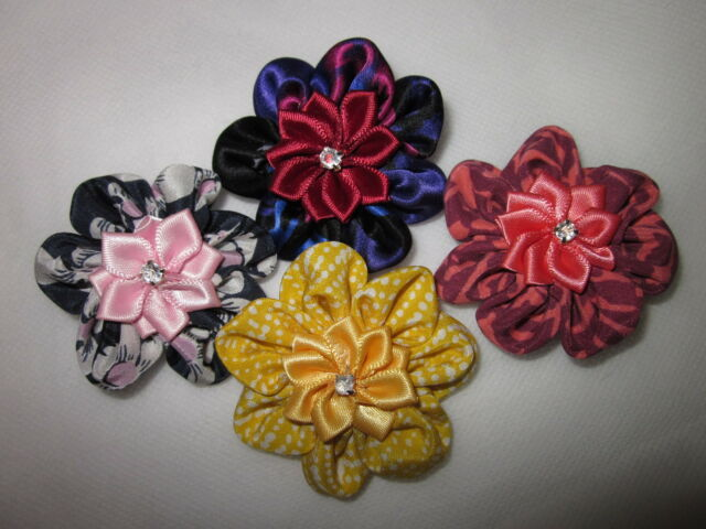 4pcs hand made silk hair head clip/pin flower brooch bling Kawaii