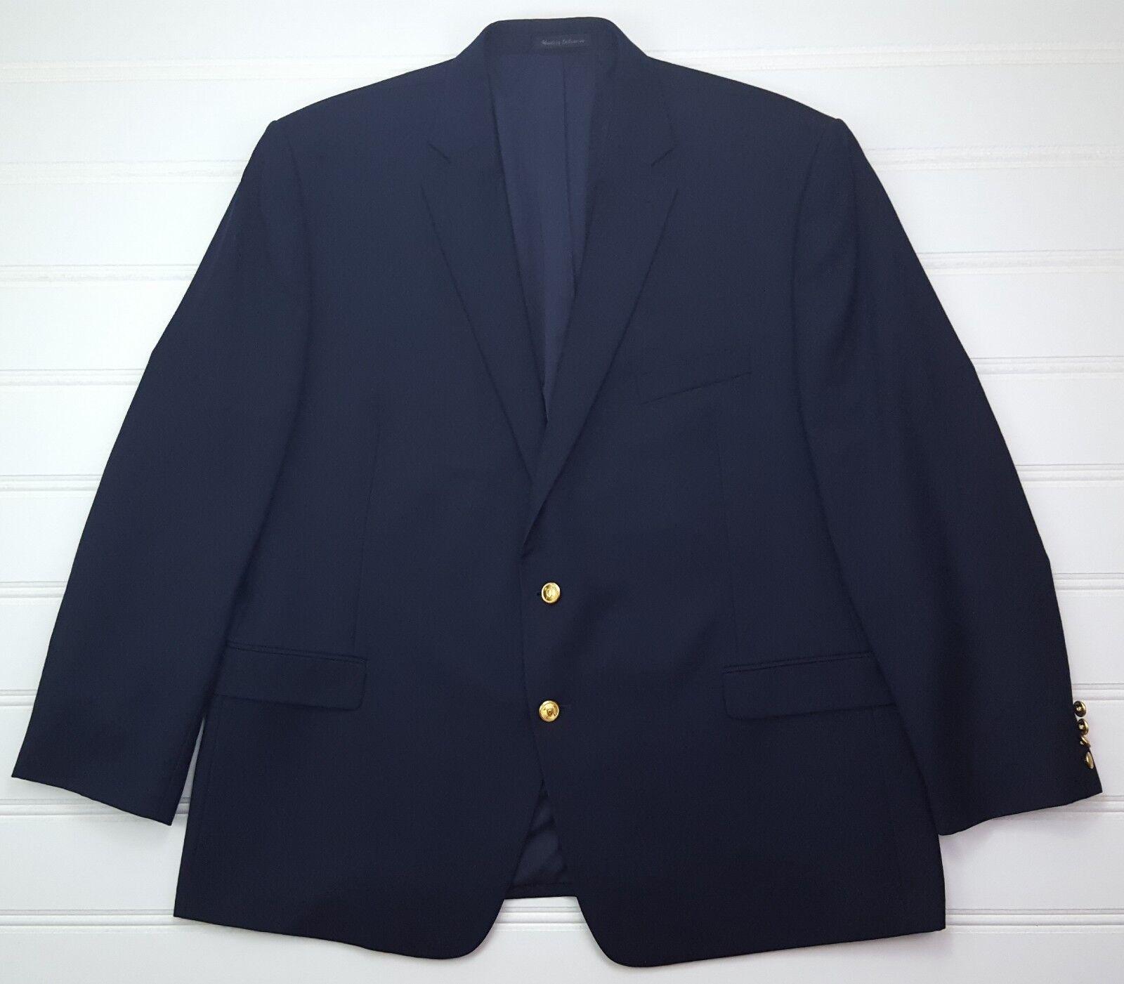 Lauren Ralph Lauren Blau Blazer 50R Navy Wool Gold Toned Metal Buttons Lined Man