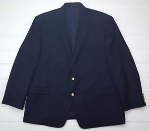 Lauren-Ralph-Lauren-Blue-Blazer-50R-Navy-Wool-Gold-Toned-Metal-Buttons-Lined-Man