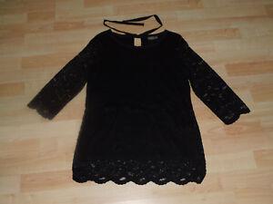 new products 87cc2 c6678 Details zu Damen Pullover schwarz Spitze 2-lagig ¾ Ärmel festlich elegant  Gr. S