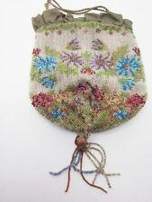 Beaded Antique Vintage Evening Bag Drawstring Tassel Floral Custom Flapper