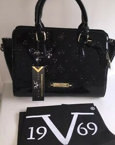 NEW! Versace V 1969 ITALIA Sportivo Black Patent Leather Handbag ... 950261e2c1def