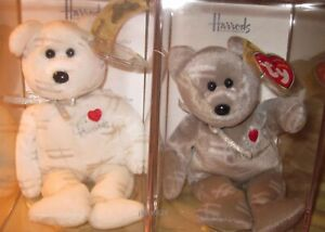 Ty SHOOTING STAR White & Gray Beanie Baby Bears UK Excl BOXED w/ Certs 492 MWMT