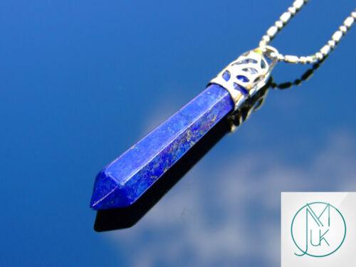 Lapis Lazuli Crystal Long Point Pendant Natural Gemstone Necklace Healing Stone