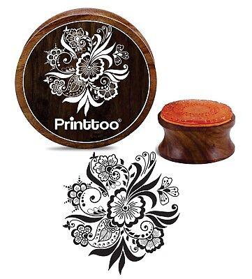 Printtoo Holz Stempel Floral Mandala Muster Rund Briefmarken