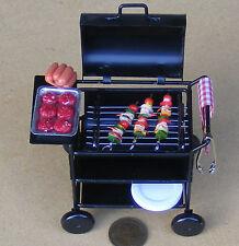 1:12 CARRELLO IN METALLO SCALA BARBECUE CASA delle Bambole Miniatura Accessorio Giardino BBQ