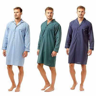 Da Uomo Haigman Nightwear Easy Care Poly Cotone Manica Lunga Camicia