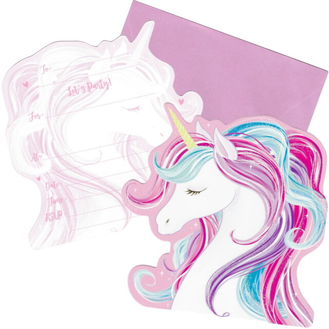 SPARKLE UNICORN BIRTHDAY PARTY SUPPLIES INVITATIONS INVITES (PACK OF 8)