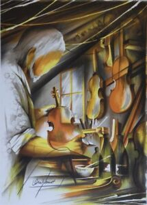 POULET-Raymond-The-Luthier-LITHOGRAPHY-signed-numbered-450ex-MUSIC
