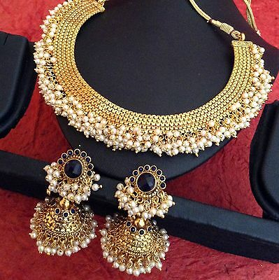 South Indian style chandni pearls golden ADIVA copper bridal necklace set z101