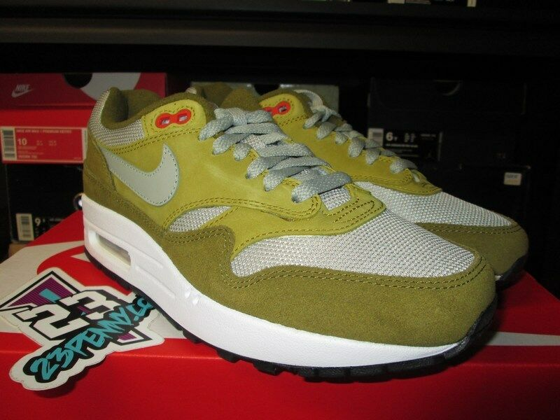 SALE NIKE AIR MAX 1 GREEN SUEDE CURRY PACK OLIVE FALK 908366 300 SZ 6-12 BROWN