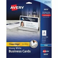Avery Clean Edge Business Cards Inkjet 2 X 3 1/2 Glossy White 200/pack 8859 on sale