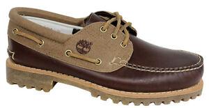 Timberland Hainsworth 3-Eye Mens Boat Shoe Burgundy Leather