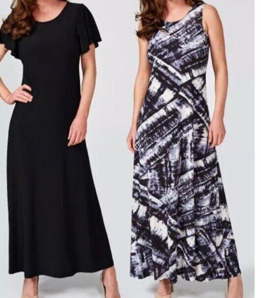 Attitudes by Renee Print & Plain Pack of 2 Maxi Kleides Petite Length M E131