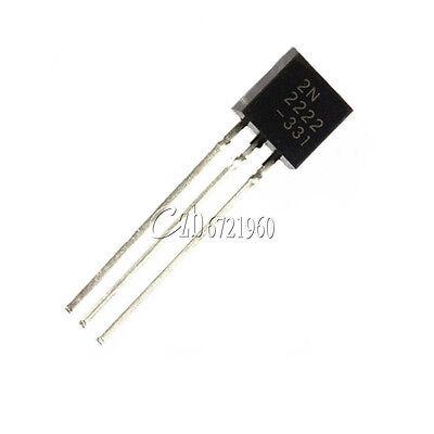 100Pcs NPN Transistor TO-92 2N2222A 2N2222