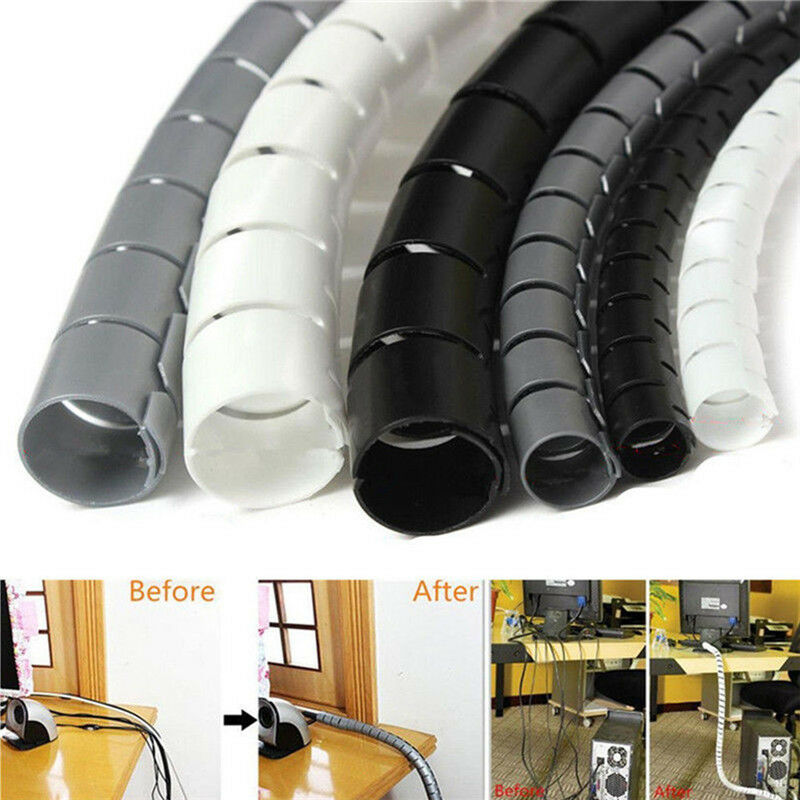 2 Metre Cable Tidy PC TV Wire Organising Wrap Spiral Office Home.HJP