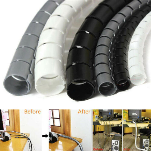 1m 10//25mm Cable Spiral Wrap Tidy Cord Wire Band Loom Storage Organizer Tool XJ