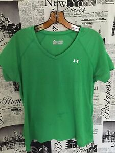 Under-Armour-Women-039-s-Heatgear-Short-Sleeve-Semi-Fitted-Top-Size-Large-Green