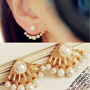 crystal ear double sided jacket itm earring flower stud silver rhinestone women