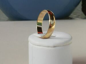 14K Yellow Gold plated 4MM Wide Wedding Band Ring Sizes