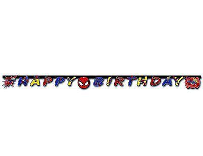 SPIDERMAN HAPPY BIRTHDAY LETTER BANNER 200CM LONG DISNEY MARVEL AVENGERS  NEW