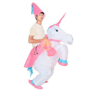 7849f9f4ea1d Image is loading Adult-Kid-Inflatable-Unicorn-Costume-Blow-Up-Halloween-
