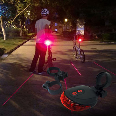 Cycling Bicycle Safty 2Laser Projector Red Lamps Beam and 5 LED Rear Tail Lights