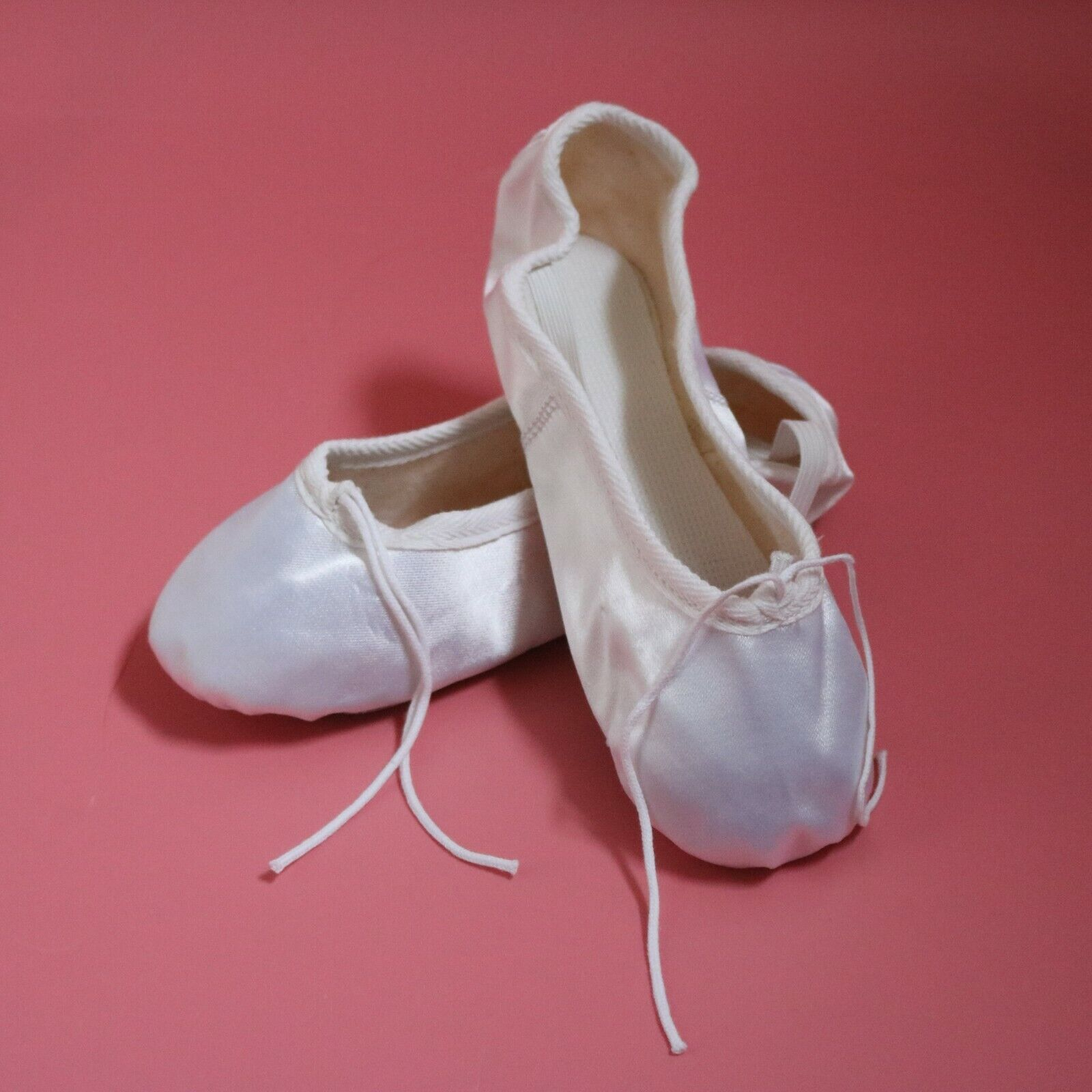 White Satin Ballet Shoes From Infant to Adult Sizes NEW