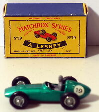 DTE LESNEY MATCHBOX REGULAR WHEELS 19-3 ASTON MARTIN W/19 DECAL AND GREY DRIVER