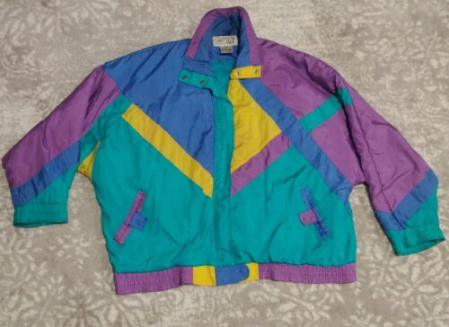Vintage 80s 90s Color Block Windbreaker  Casual Creations  Green Blue Purple  Workout Sport Athletic Active