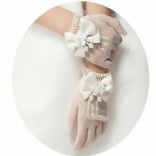 White Lace Satin Bow Bridal Wedding Soft Tulle Finger Short Gloves SS3