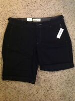 Women's Old Navy Black Cotton Dress Bermuda Walking Shorts $25 8,