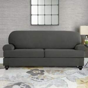New Sure Fit Faux Suede Slate Gray Loveseat Slipcover 2