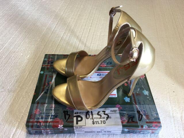 FSJ Women's Shoes Gold, Open Toe, High Heels, Ankle Straps, Size 8