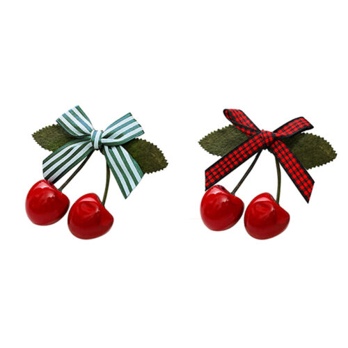 Cute Lovely Sweet Girl Kids Retro Vintage Pink Bow Cherry Hair Clip Hairpin NICA