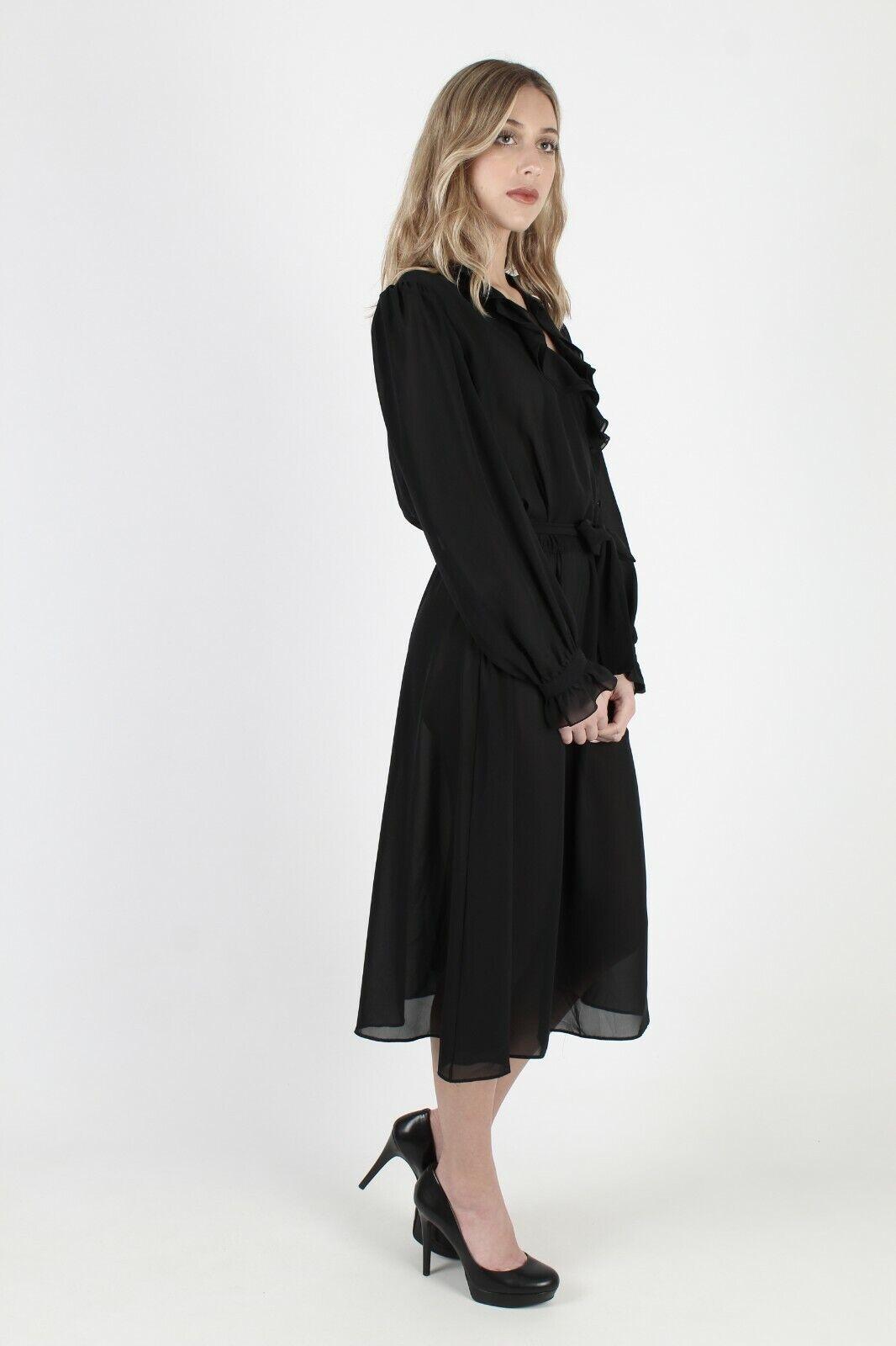 Vtg 80s Black Tuxedo Dress Sheer Ruffle Front Bel… - image 4