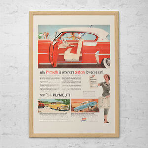 1954-PLYMOUTH-CAR-Ad-Mid-Century-Print-Retro-Car-Ad-Vintage-Car-Poster-Cla