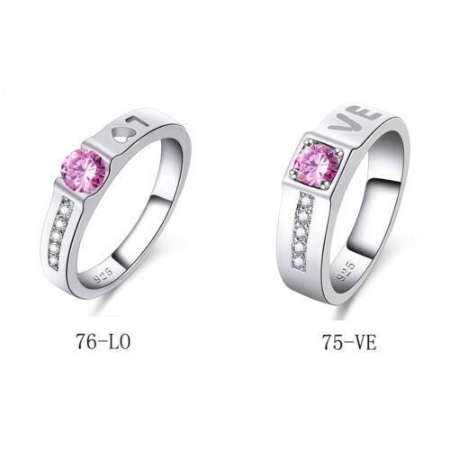 Lettre d/'amour Style Rose Blanc Topaz GEMME ARGENT RING TAILLE 6 7 8 9 romantique