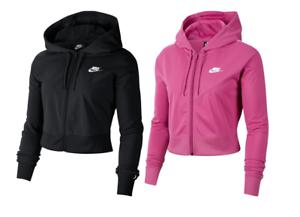 Felpa-con-cappuccio-Donna-Nike-W-NSW-HRTG-Hoodie-Rosa-Nero-Cerniera