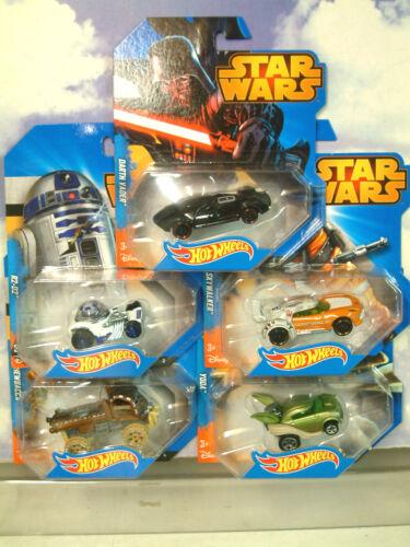 5 Set Hot Wheels Voitures de star wars r2d2 yoda Darth Vader Luke Skywalker & chewbacca