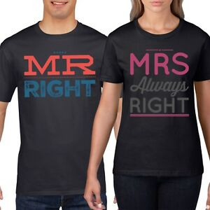 ef565063 Mr Right Mrs Always Couples T-Shirt Funny T Shirt Wedding Honeymoon ...