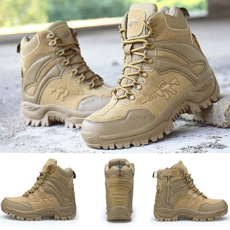 Men's Military Tactical Boots Combat Desert Duty Work shoes with Side Zipper