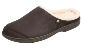 isotoner A9B995 Black Microsuede Hoodback Memory Foam Clog Slippers $38