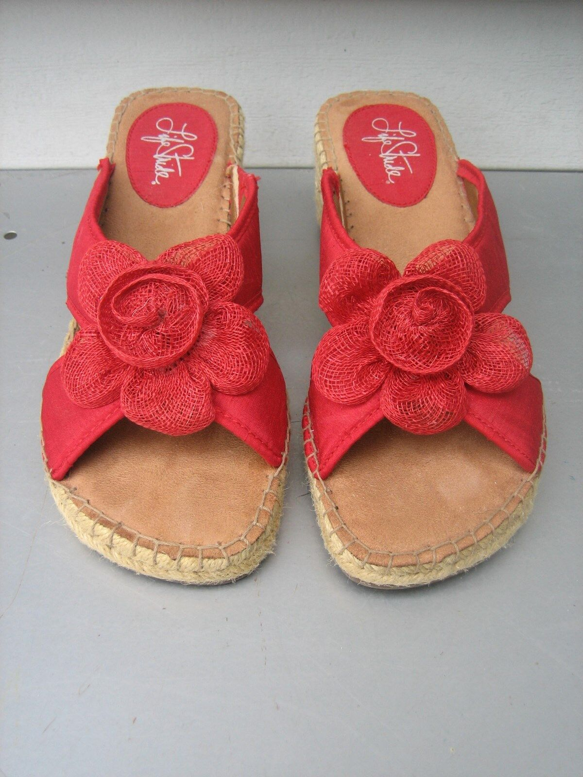 LIFE STRIDE BLOOM rouge REEF FLOWERS ESPADRILLA WEDGE SANDALS chaussures Taille 7 1 2M