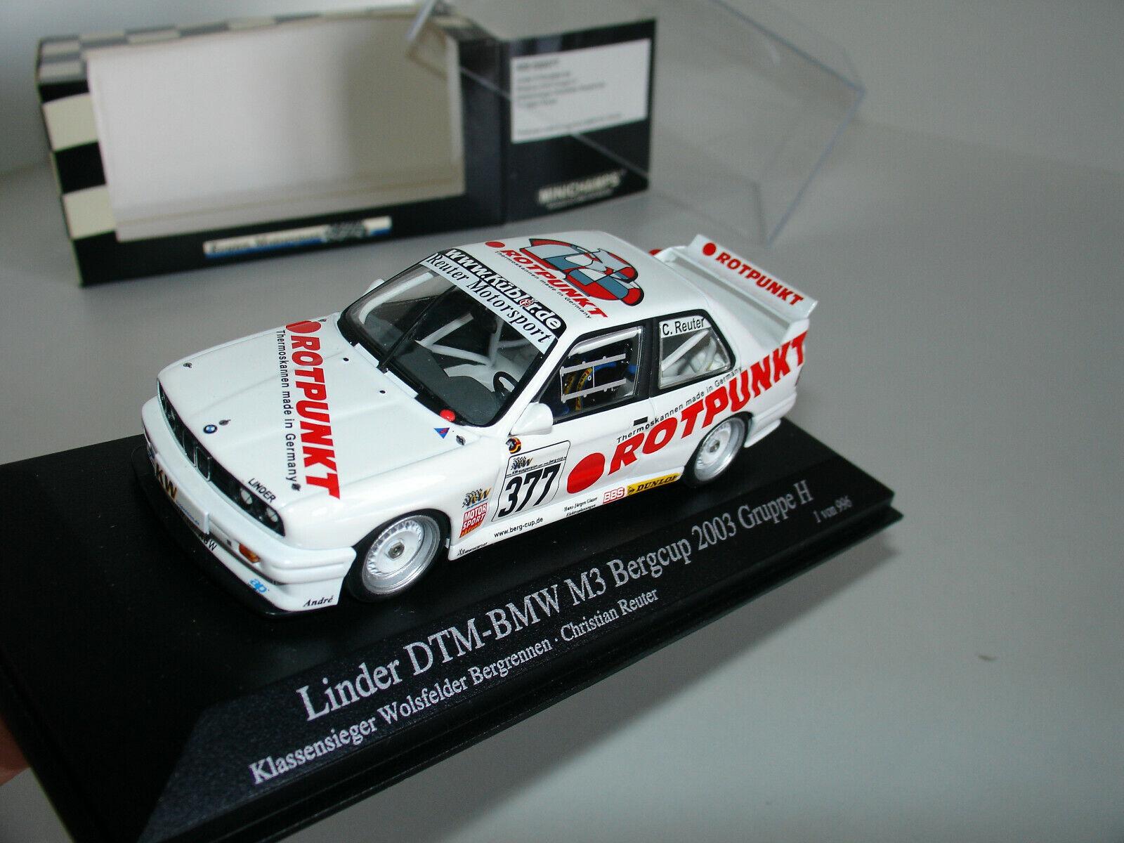 1 43 LINDER DTM-BMW M3 Bergcup 2003 Gruppe H  377  ROTPUNKT  L.E 996 MINICHAMPS